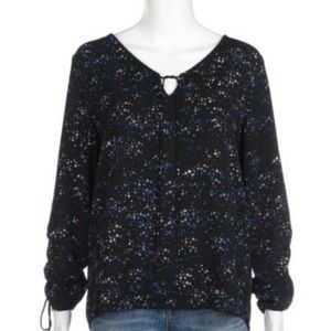 SANCTUARY Blouse Star Print Keyhole Long Sleeve M